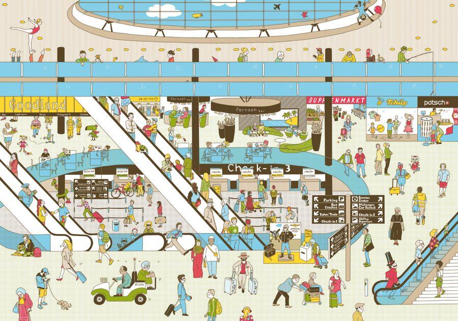 Flughafenwimmelbuch Doppelseite